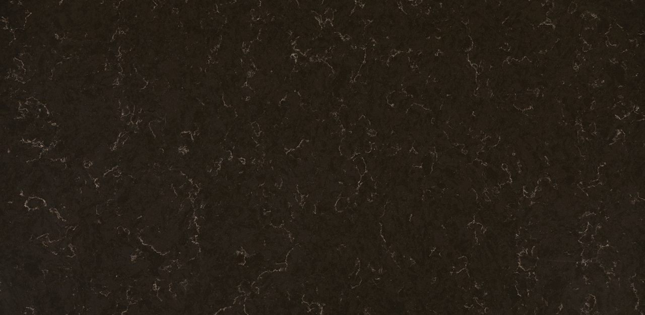 A sample of CRL Quartz's chestnut black kitchen and bathroom surface with detailed brown patterns