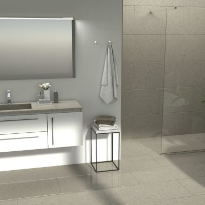 A grey bathroom with a beautiful dark surface on the sink, created by CRL Quartz's