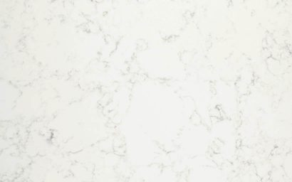 A sample of CRL Quartz's white and grey marble effect surface, suitable for kitchens & bathrooms