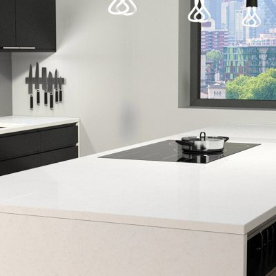A beautiful kitchen with a lovely view and CRL Quartz's ice white kitchen surfaces