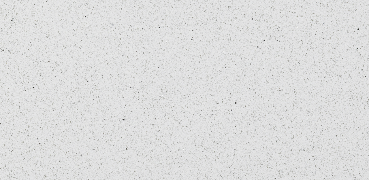 CRL Quartz's sample of a white surface with speckles of grey, used for kitchens and bathrooms