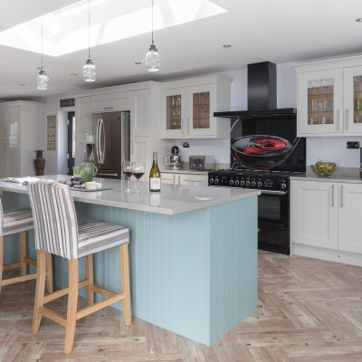 CRL Quartz's light grey surface almost white, placed on top of light blue furniture for the Lamb family