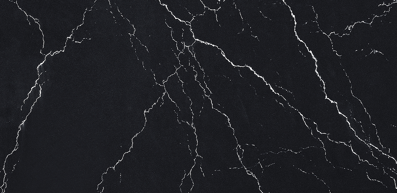CRL Quartz Staccato surface, black background with white veins